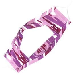 Wasbaar mondkapje met venster - camouflage strepen roze