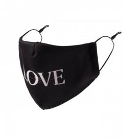 Wasbaar mondkapje zwart love yourself