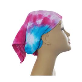 Tie Dye bandana turquoise fuchsia