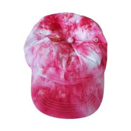 Tie Dye sportcap roze wit