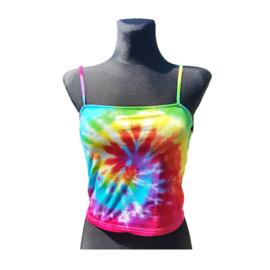 Tie dye croptop - spiral rainbow - Maat S
