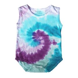 Tie Dye rompertje spiral groen blauw roze paars - 86-92