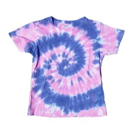 Tie dye t-shirt spiral roze lilapaars - maat 110/116