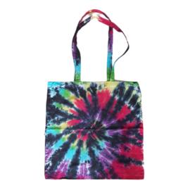 Tie dye tas - rainbow spiral met zwart