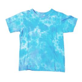 Tie dye t-shirt blauw wit - maat 122/128