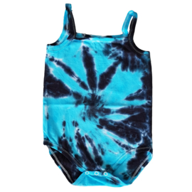 Tie Dye rompertje aquablauw antraciet - 74-80