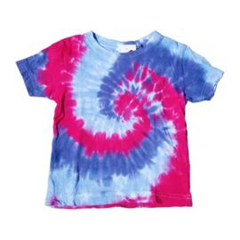 Tie dye t-shirt spiral roze paars lila - maat 98/104