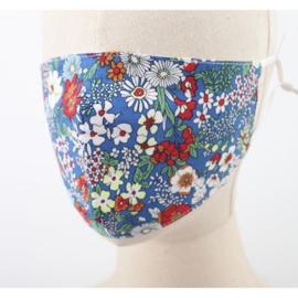 Wasbaar mondkapje bloemen blauw