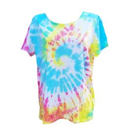 Tie dye T-shirt - geel roze oranje groen blauw - Maat XL