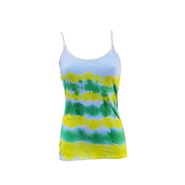 Tie dye spaghetti top - groen geel wit - Maat XL