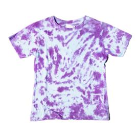 Tie dye t-shirt paars wit - maat 122/128