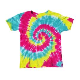 Tie dye t-shirt spiral rood geel groen - maat 122/128