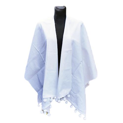 Witte poncho of omslagdoek