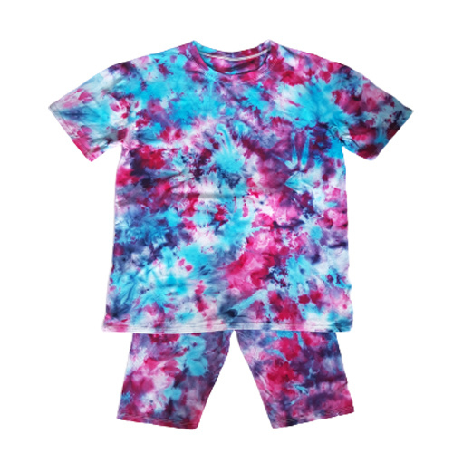 Tie dye set roze blauw paars - Maat M/L
