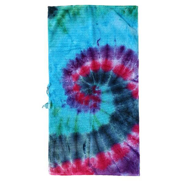 Tie Dye handdoek spiral multicolor 50 x 100 cm