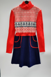 Vintage dress blue/red/white size 116/122