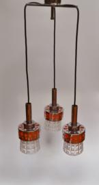 hanglamp oranje/glas/chroom