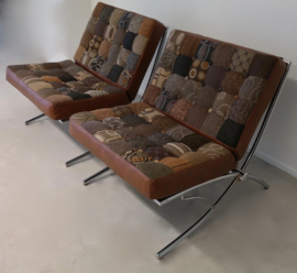 Barcelona Chair (Replica) upholstered again with leader and patchwork