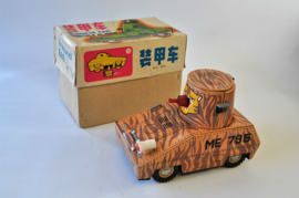 Vintage Red China # ME 796 ARMOURED TANK tin toy Battery Operated in Orig. Box !