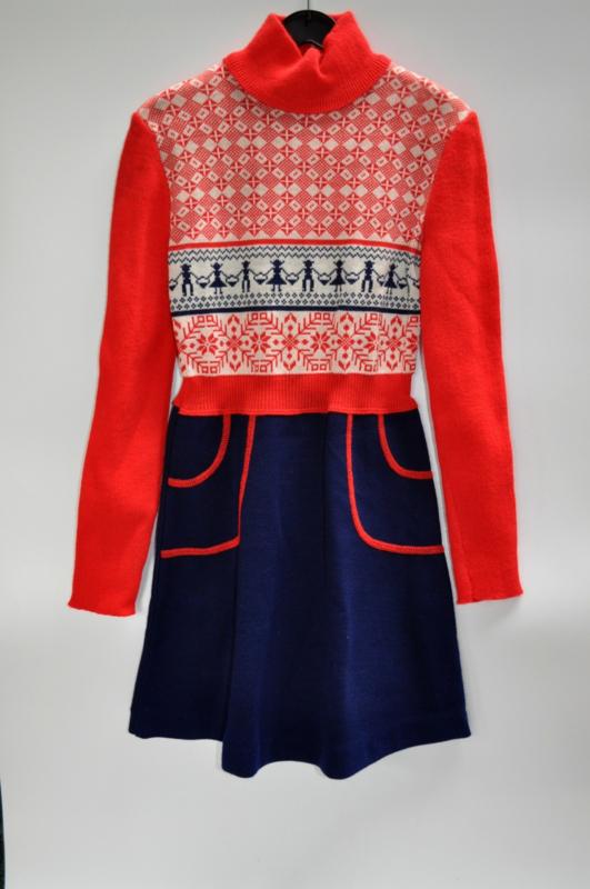 Vintage kinderjurk rood/blauw/wit