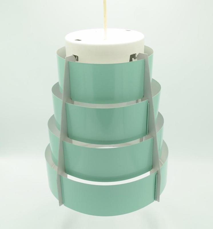 Set van 3 Vintage Lamellen Hang Lampen Mint (ook los verkrijgbaar) prijs is per stuk