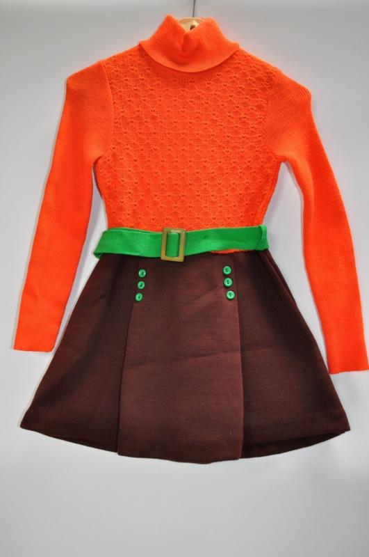 Vintae jurkje oranje/bruin met groene details