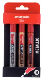 Amsterdam Acryl Marker set metaal kleuren 3 x 4 mm
