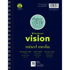Strathmore vision mixed media schetsboek met spiraal 17,8x25,4 cm
