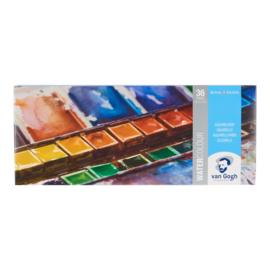 Van Gogh Aquarelverf set in metalen blik met 36 kleuren in halve napjes + 1 penseel