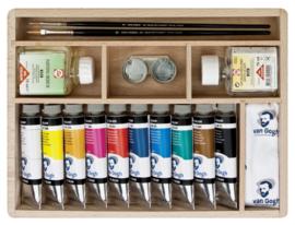 Van Gogh Olieverf kist Basic met 10 kleuren in tubes van 40 ml + accessoires