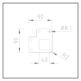 Hoekstuk | 90x90x4mm | K40x40
