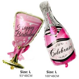 Feestballonnen Champagnefles + Glas roze of goud