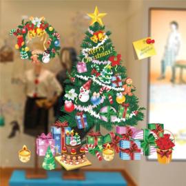 Raamsticker Kerstmis Kerstboom Kleurrijk