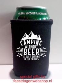 Bier Koelhoud hoesje thema Camping - 2 stuks