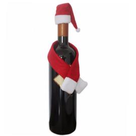 Kerst muts en sjaal voor fles