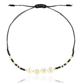 Trendy armband miyuki LOVE armband in de kleur zwart met goud