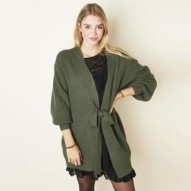 Cardigan wrapped long vest groen