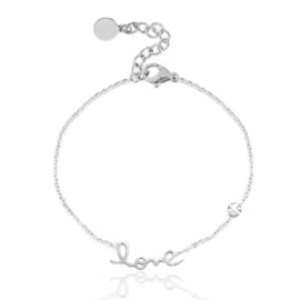 Roestvrij stalen ( RVS ) Stainless steel armband LOVE zilver
