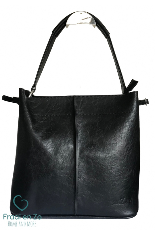 Zaza'z leather look tas zwart