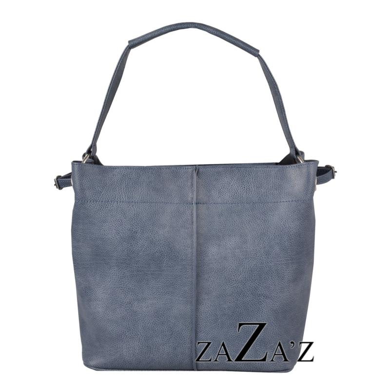 Zaza'z leather look tas blauw