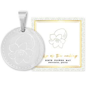 Roest vrij stalen Stainless steel Birth flower Mei