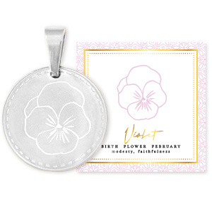 Roest vrij stalen Stainless steel Birth flower Februari