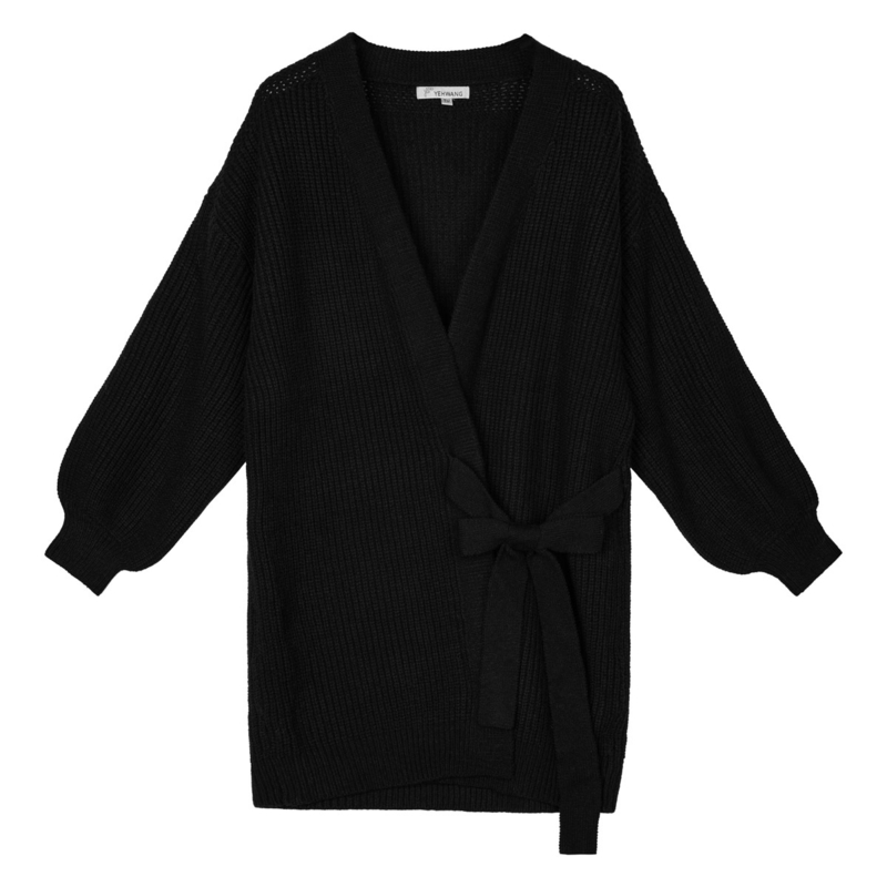 Cardigan wrapped long vest zwart
