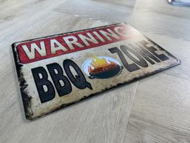 Warning BBQ zone | 20 x 30cm | metaal