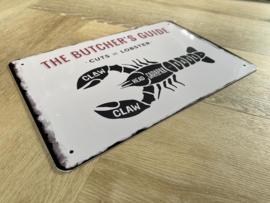 Butcher's guide | Kreeft | 20 x 30cm | metaal
