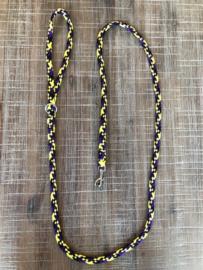 Zwart/geel/paars 8 mm. breed