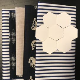 Indigo bag with hexagon flower