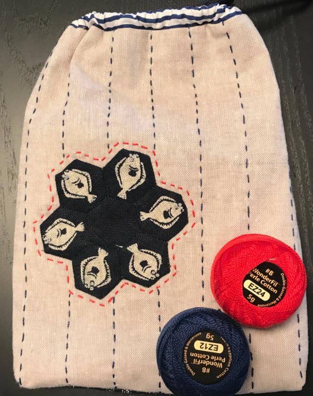Indigo bag with hexagon flower
