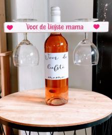 Wijnset houder met glazen en fles wijn