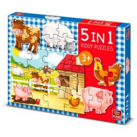 King - 5 in 1 Kiddy puzzel boerderij